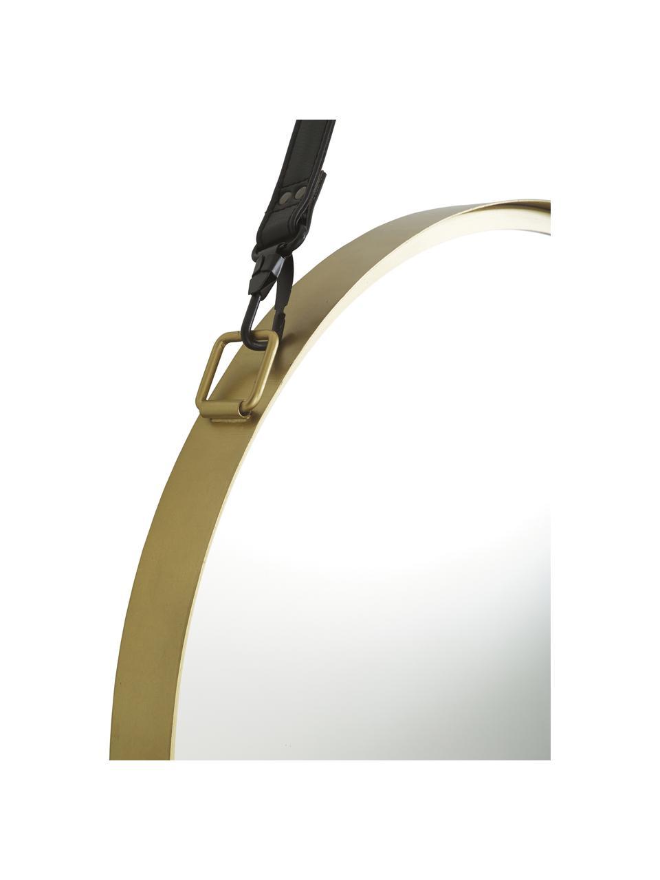 Okrągłe lustro ścienne ze skórzaną pętlą Liz, Złoty, Ø 80 cm