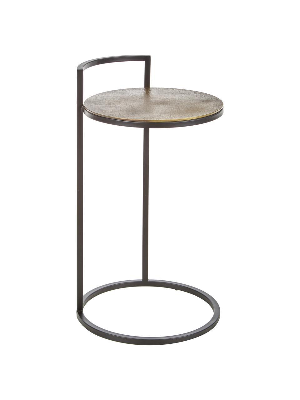 Ronde bijzettafel Circle van metaal, Tafelblad: gecoat metaal, Frame: gelakt metaal, Goudkleurig, zwart, Ø 35 x H 66 cm