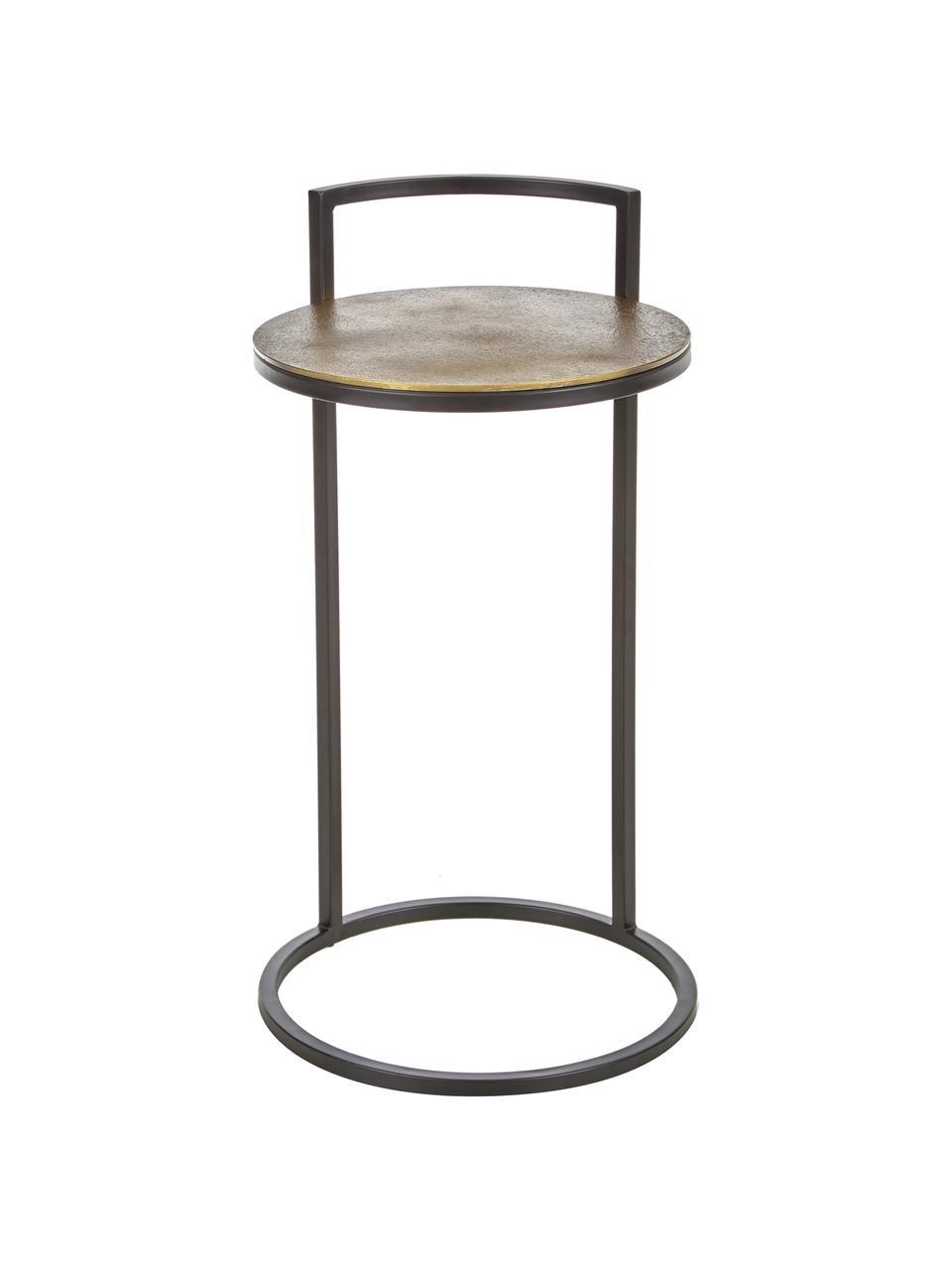 Table d'appoint ronde Circle, Doré, noir