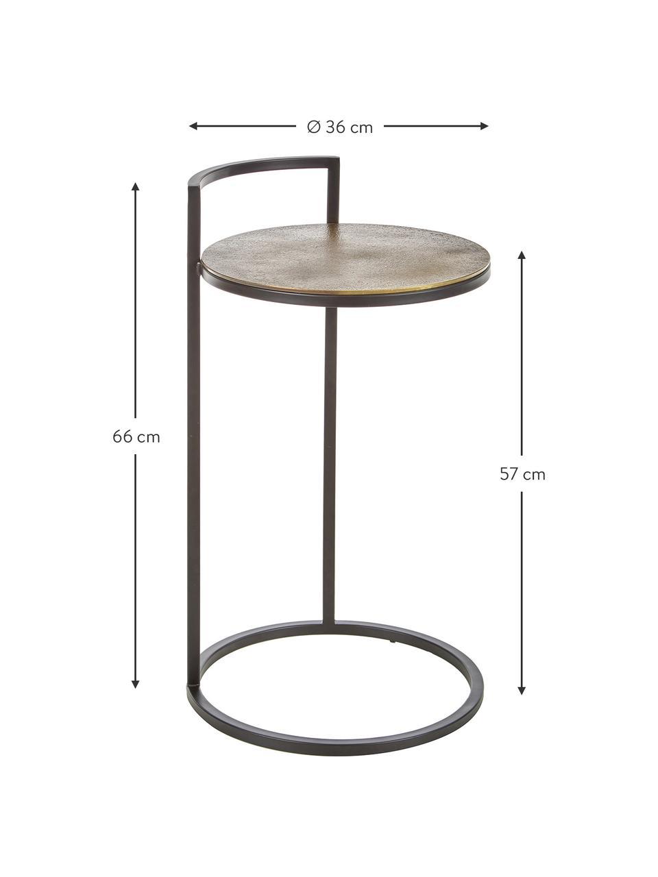 Okrągły stolik pomocniczy z metalu Circle, Blat: metal powlekany, Stelaż: metal lakierowany, Złoty, czarny, Ø 35 x W 66 cm