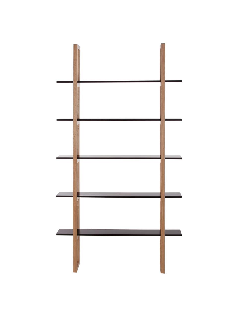 Libreria  in legno di quercia Store, Ripiani: fibra di media densità ve, Legno di quercia, nero, Larg. 110 x Alt. 200 cm