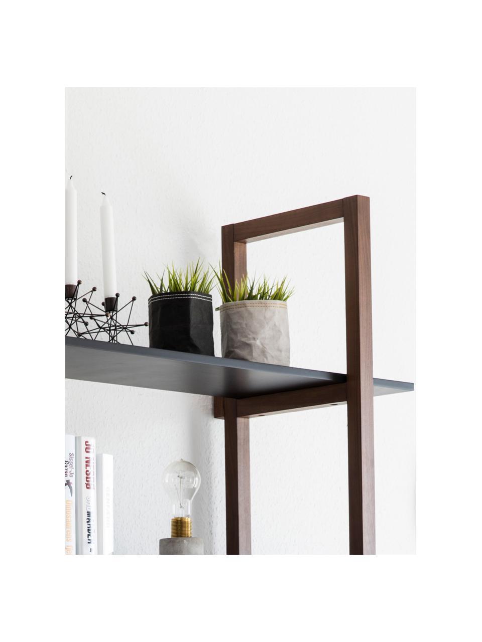 Regał z drewna dębowego Store, Korpus: lite drewno dębowe, Drewno dębowe, czarny, S 110 x W 200 cm