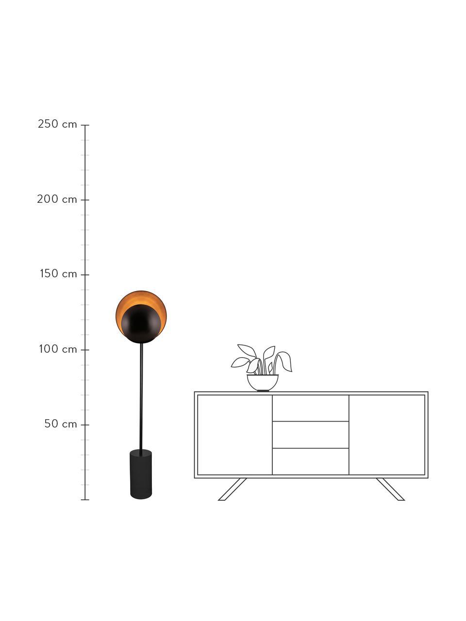 Design vloerlamp Orbit in zwart, Lampenkap: gecoat metaal, Lampvoet: gecoat metaal, Zwart, 30 x 140 cm