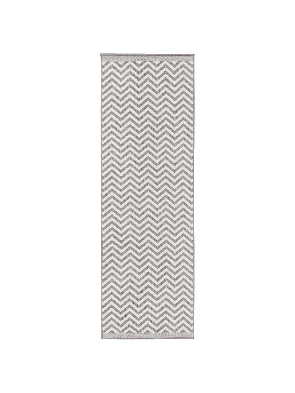 In- & Outdoor-Läufer Palma mit Zickzack-Muster, beidseitig verwendbar, 100% Polypropylen, Grau, Creme, 80 x 250 cm