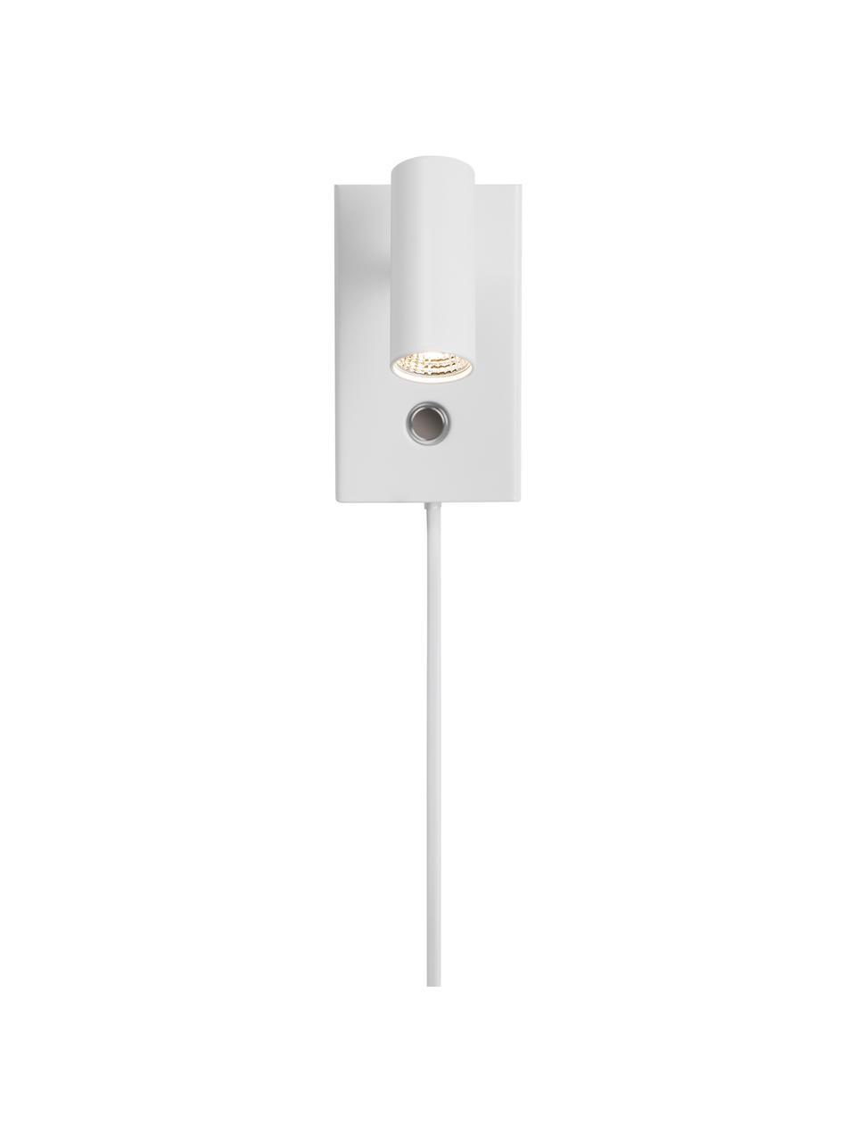 Dimmbare LED-Wandleuchte Omari mit Stecker in Weiß, Lampenschirm: Metall, beschichtet, Weiß, 7 x 12 cm