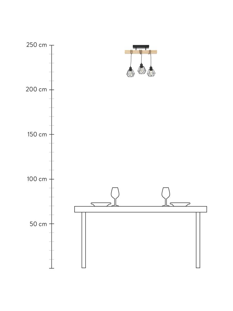 Deckenleuchte Townshend aus Holz, Baldachin: Stahl, lackiert, Schwarz, Holz, 55 x 36 cm