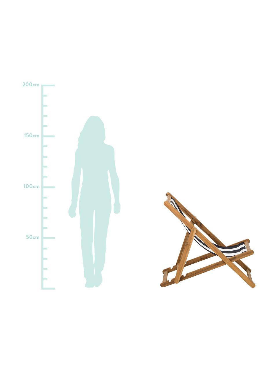Inklapbare ligstoel Zoe, Frame: geolied acaciahout, Wit, blauw, B 59 x D 91 cm