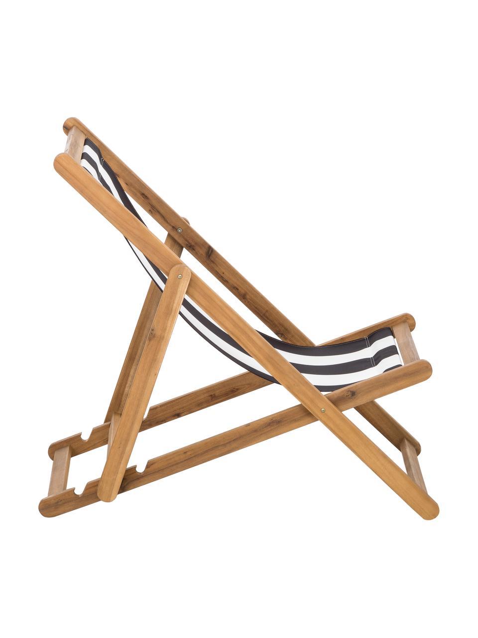 Składany leżak Zoe, Stelaż: lite drewno akacjowe, ole, Biały, niebieski, S 59 x G 84 cm