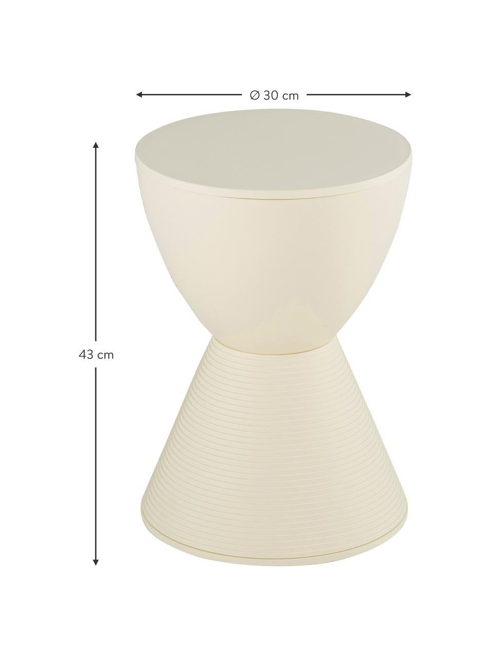 Design kruk/bijzettafel Prince AHA, Doorgepigmenteerd polypropyleen, Crèmekleurig, Ø 30 x H 43 cm