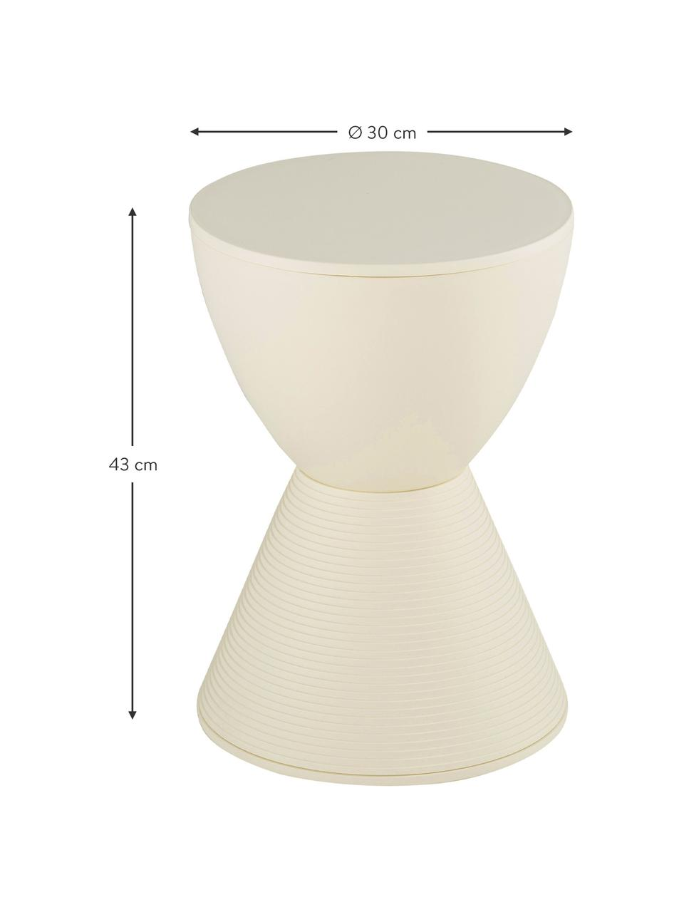 Design Beistelltisch Prince AHA, Durchpigmentiertes Polypropylen, Creme, Ø 30 x H 43 cm