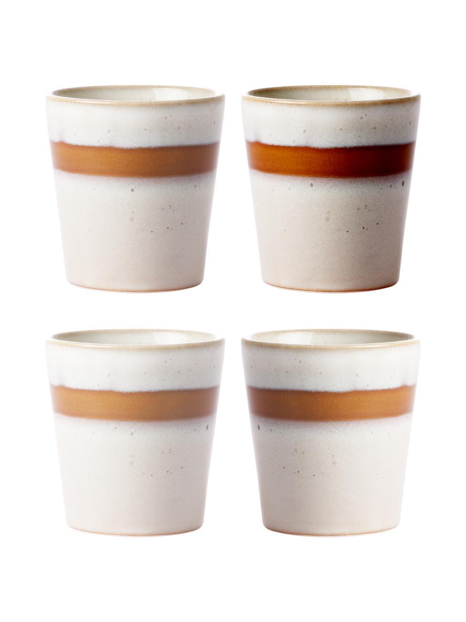Handgemaakte XS bekersset 70's in retro stijl, 4-delig, Keramiek, Beige, bruin, Ø 8 x H 8 cm