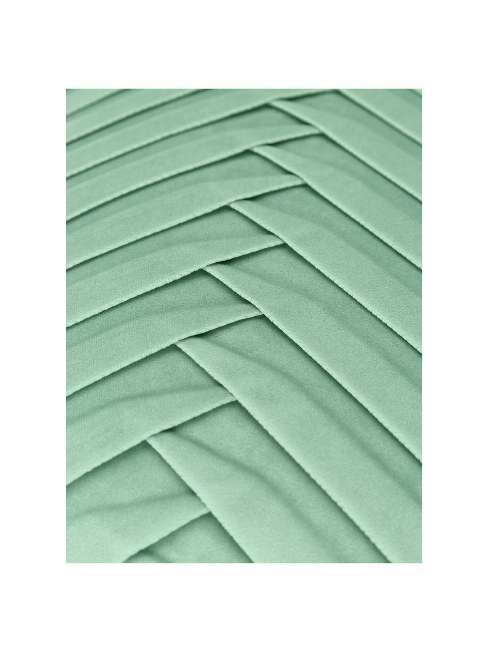 Samt-Kissenhülle Lucie in Salbeigrün mit Struktur-Oberfläche, 100% Samt (Polyester) Bitte berücksichtigen Sie, dass Samt je nach Lichteinfall und Streichrichtung farblich heller oder kräftiger erscheint, Salbeigrün, 45 x 45 cm
