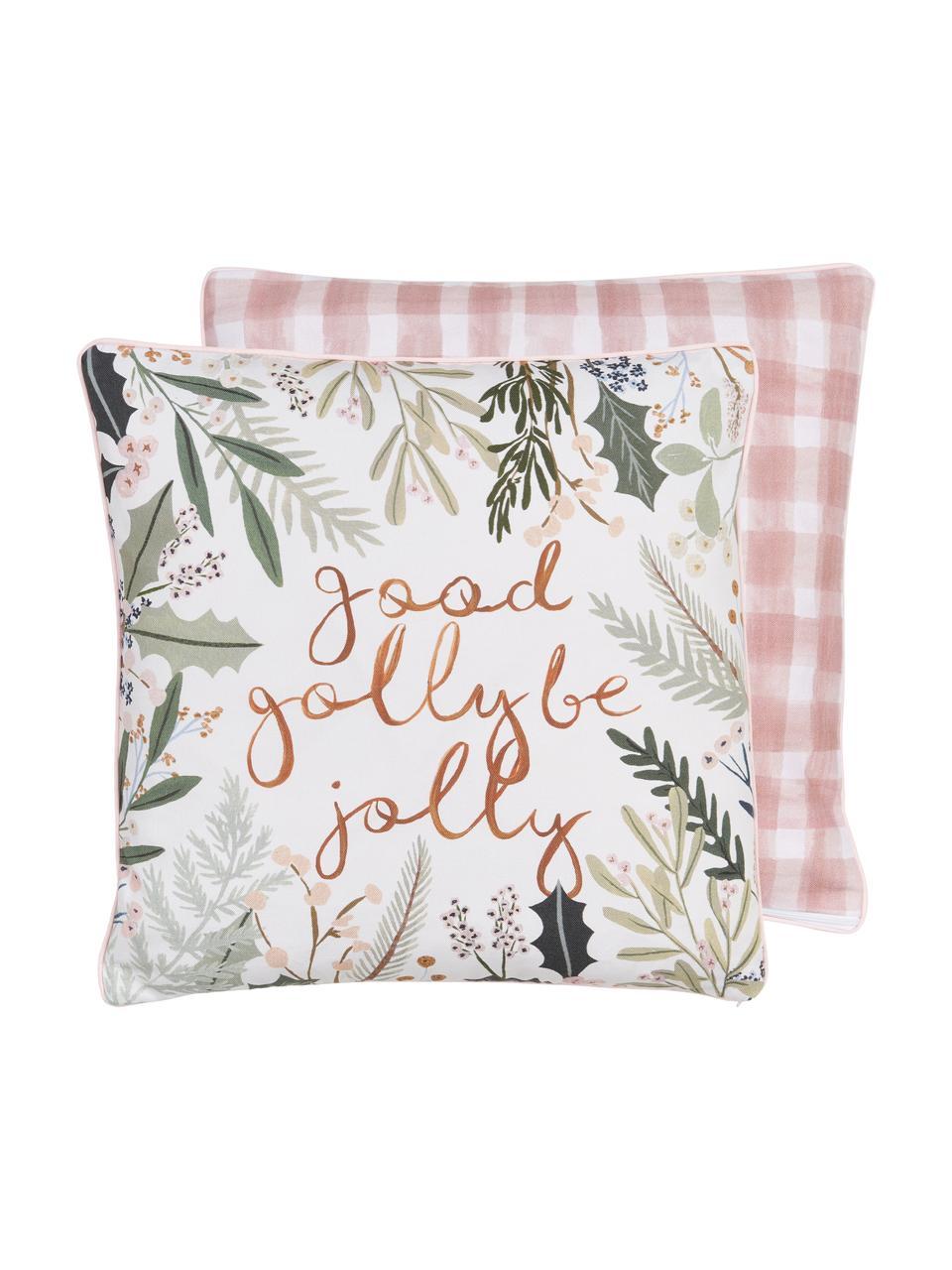 Housse de coussin 45x45 réversible Good Golly Be Jolly par Candice Gray, Multicolore