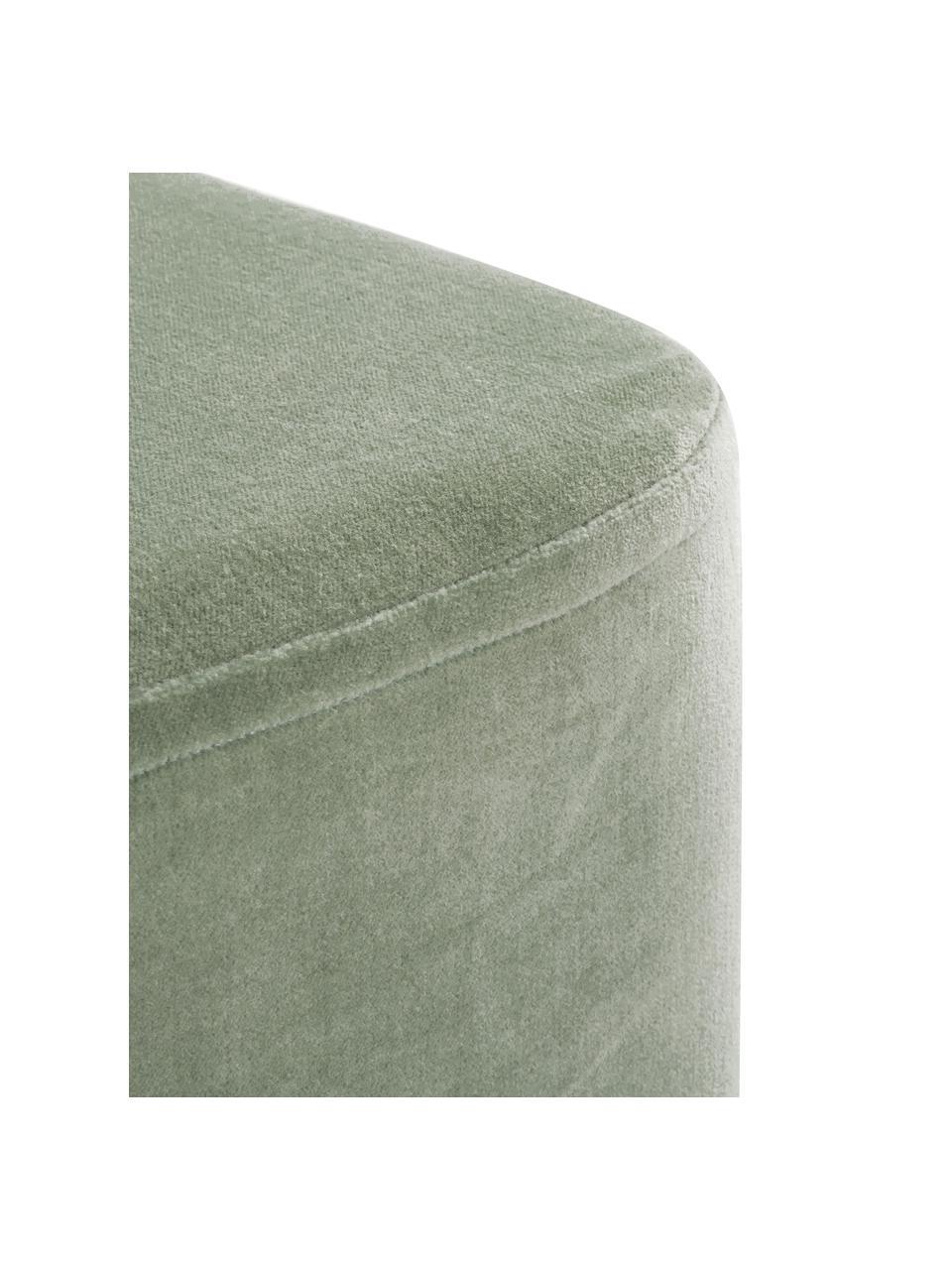 Samt-Hocker Harper, Bezug: Baumwollsamt, Fuß: Metall, pulverbeschichtet, Samt Salbeigrün, Goldfarben, 46 x 44 cm
