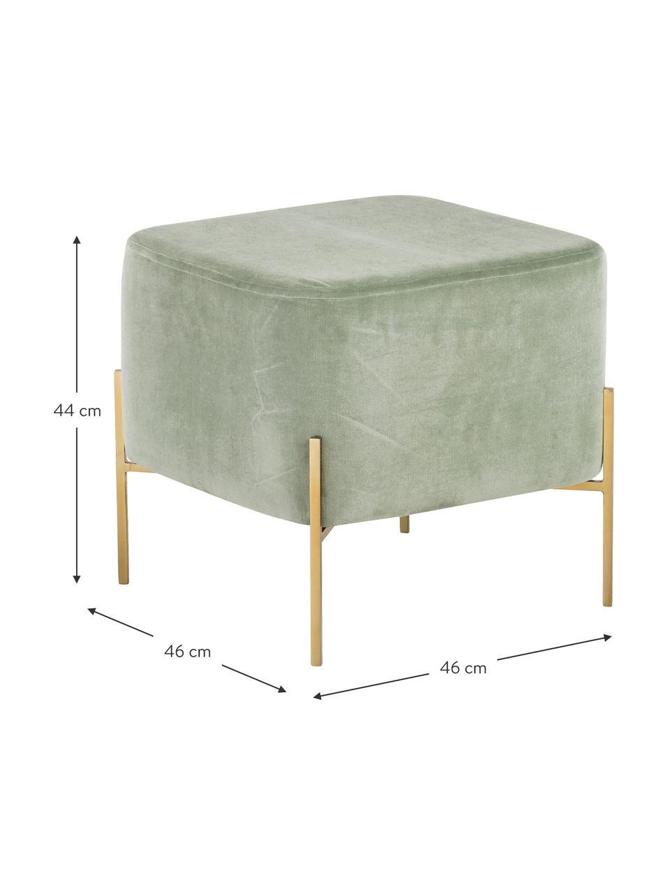 Pouf in velluto Harper, Rivestimento: velluto di cotone, Verde salvia, dorato, Larg. 46 x Alt. 44 cm
