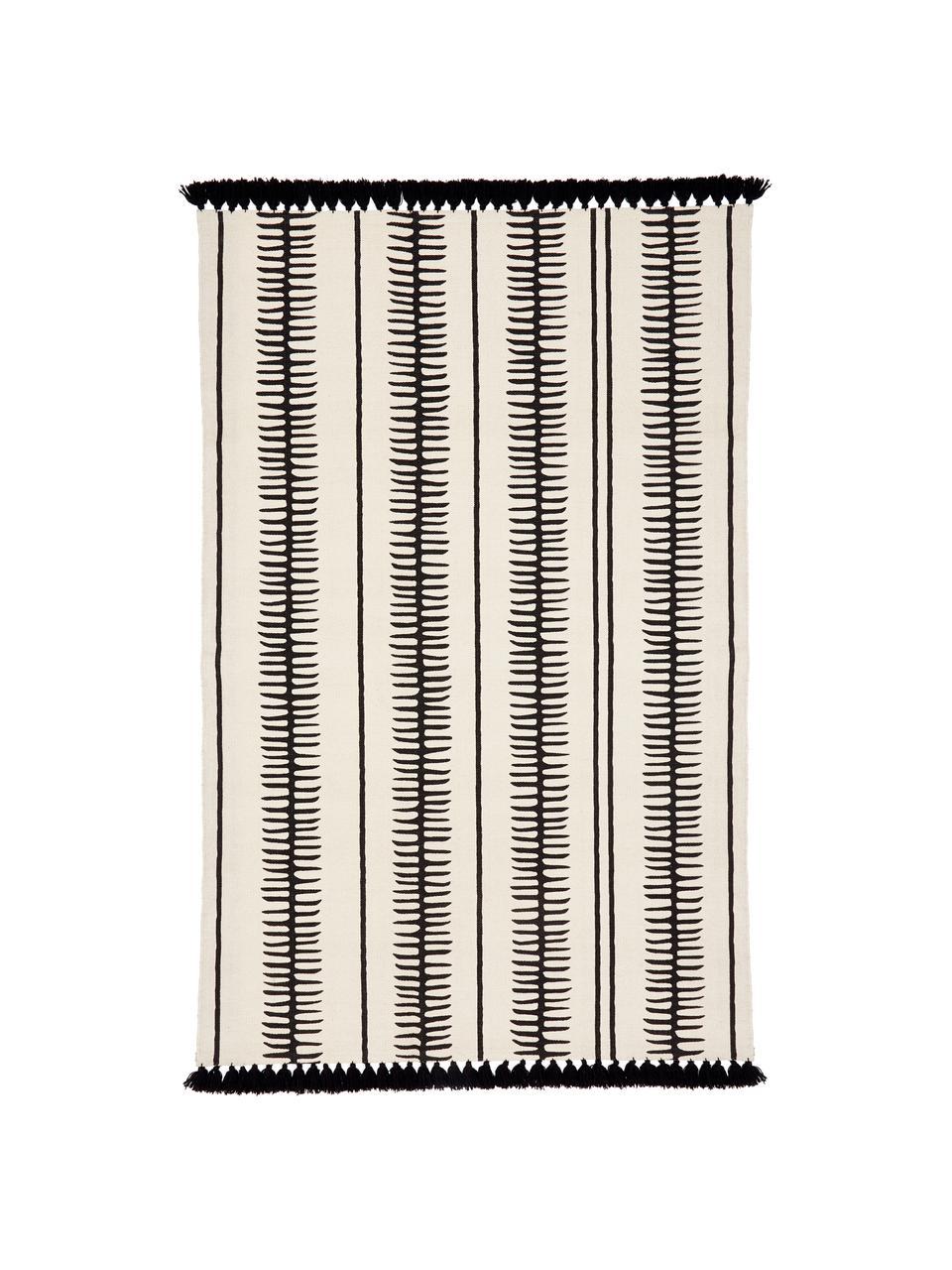 Tappeto in cotone beige/nero tessuto a mano con nappe Rita, Beige, nero, Larg. 70 x Lung. 140 cm (taglia XS)