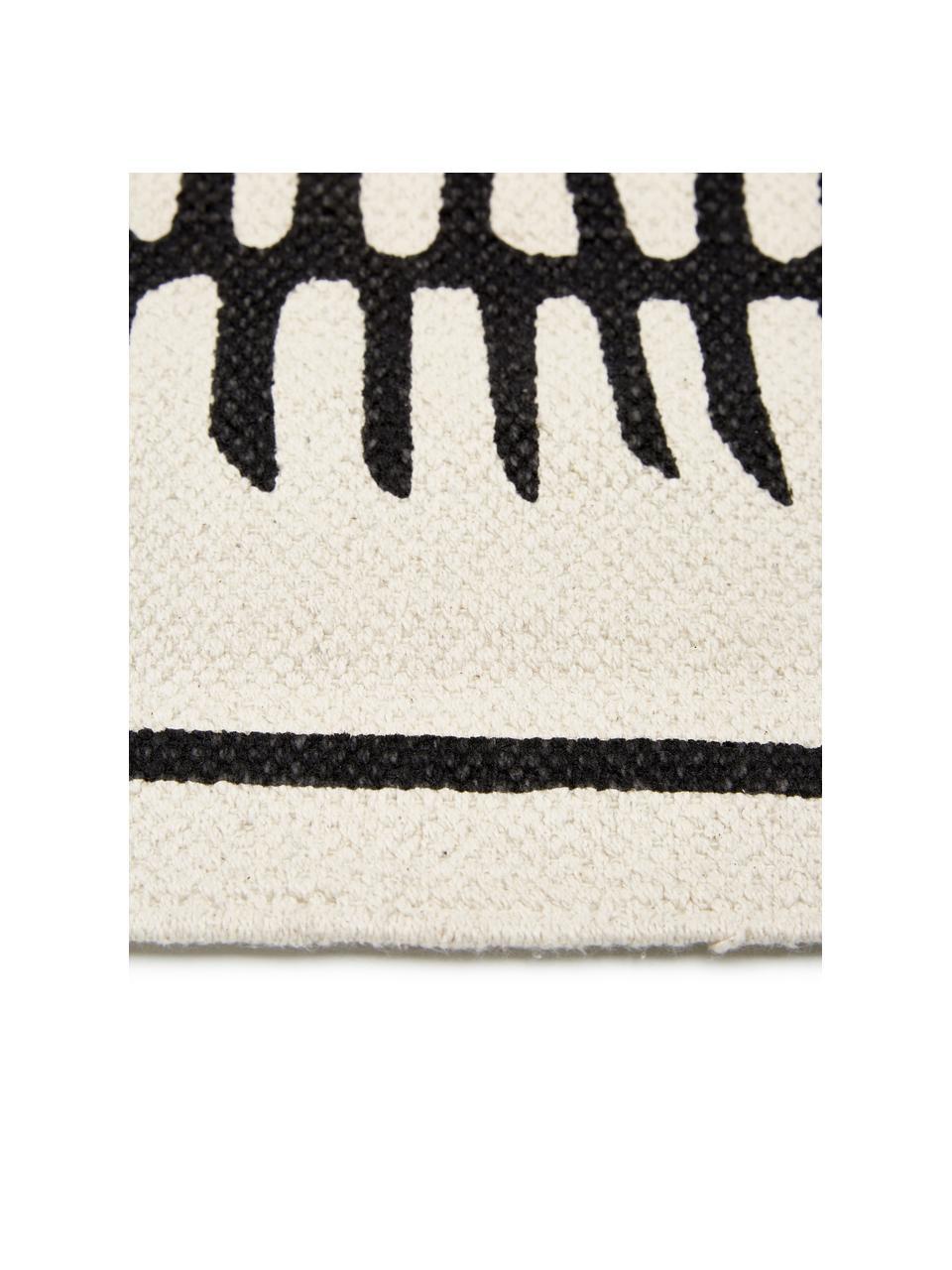 Handgeweven katoenen vloerkleed Rita in beige/zwart met decoratieve kwastjes, Beige, zwart, B 50 x L 80 cm (maat XXS)