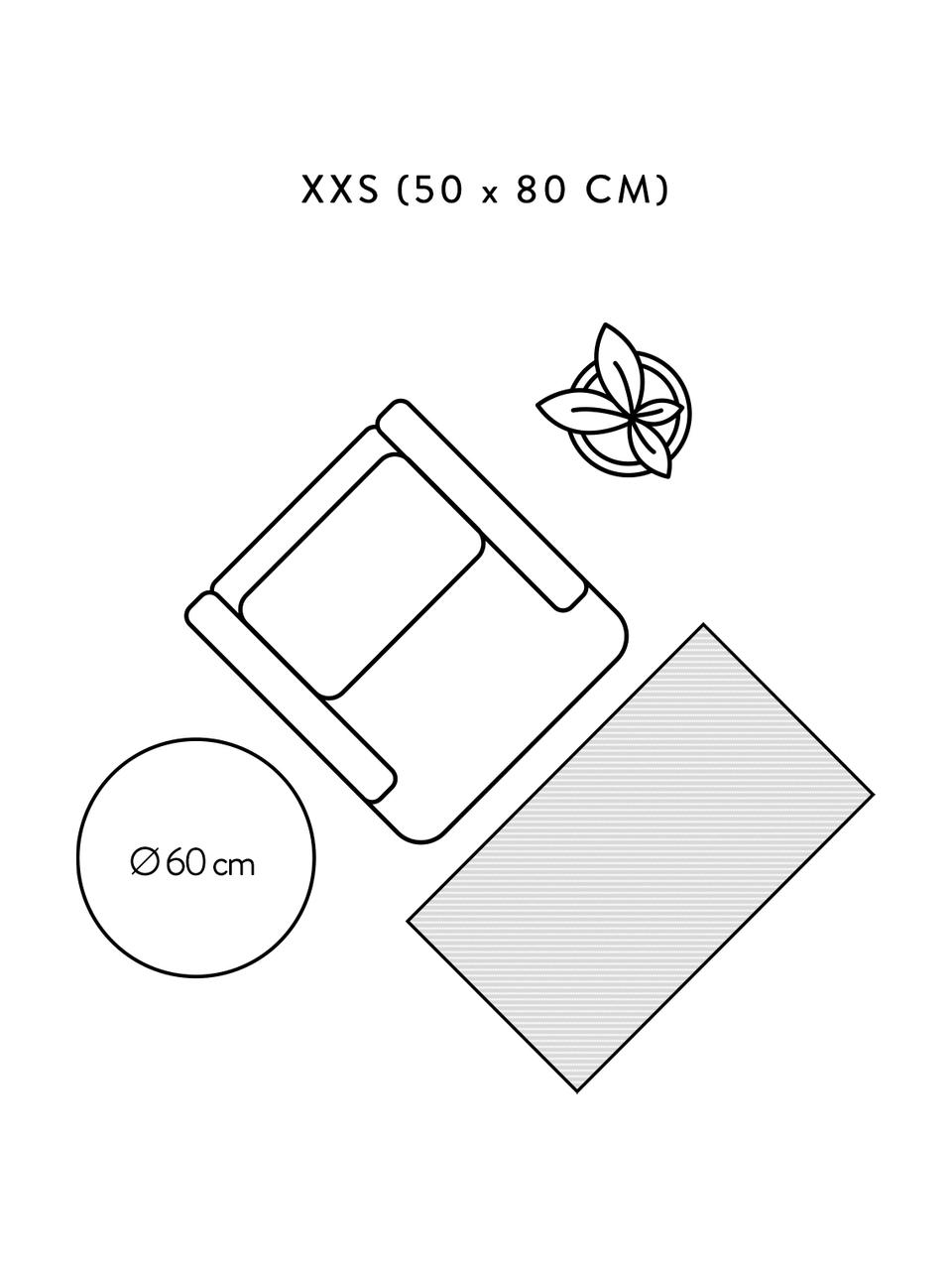 Handgewebter Baumwollteppich Rita in Beige/Schwarz mit dekorativen Quasten, Beige, Schwarz, B 50 x L 80 cm (Größe XXS)