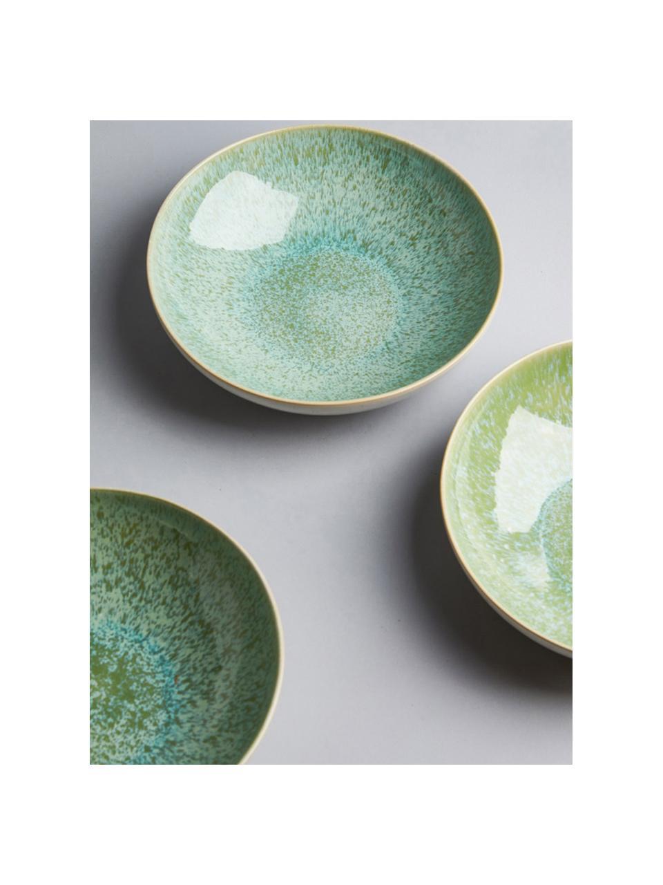 Handbeschilderde serveerschaal Areia met reactief glazuur, Ø 22 cm, Keramiek, Mintkleurig, gebroken wit, beige, Ø 22 x H 5 cm