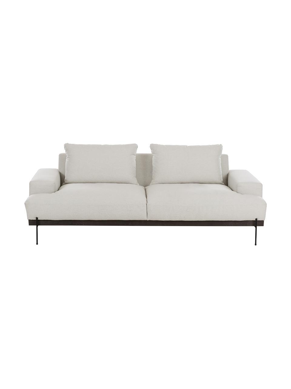 Sofa z metalowymi nogami Brooks (3-osobowa), Tapicerka: poliester Tapicerka nie j, Stelaż: lite drewno sosnowe, Nogi: metal malowany proszkowo, Beżowy, S 230 x G 98 cm