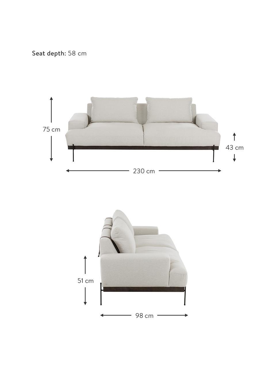 Canapé 3 places beige pieds en métal Brooks, Tissu beige