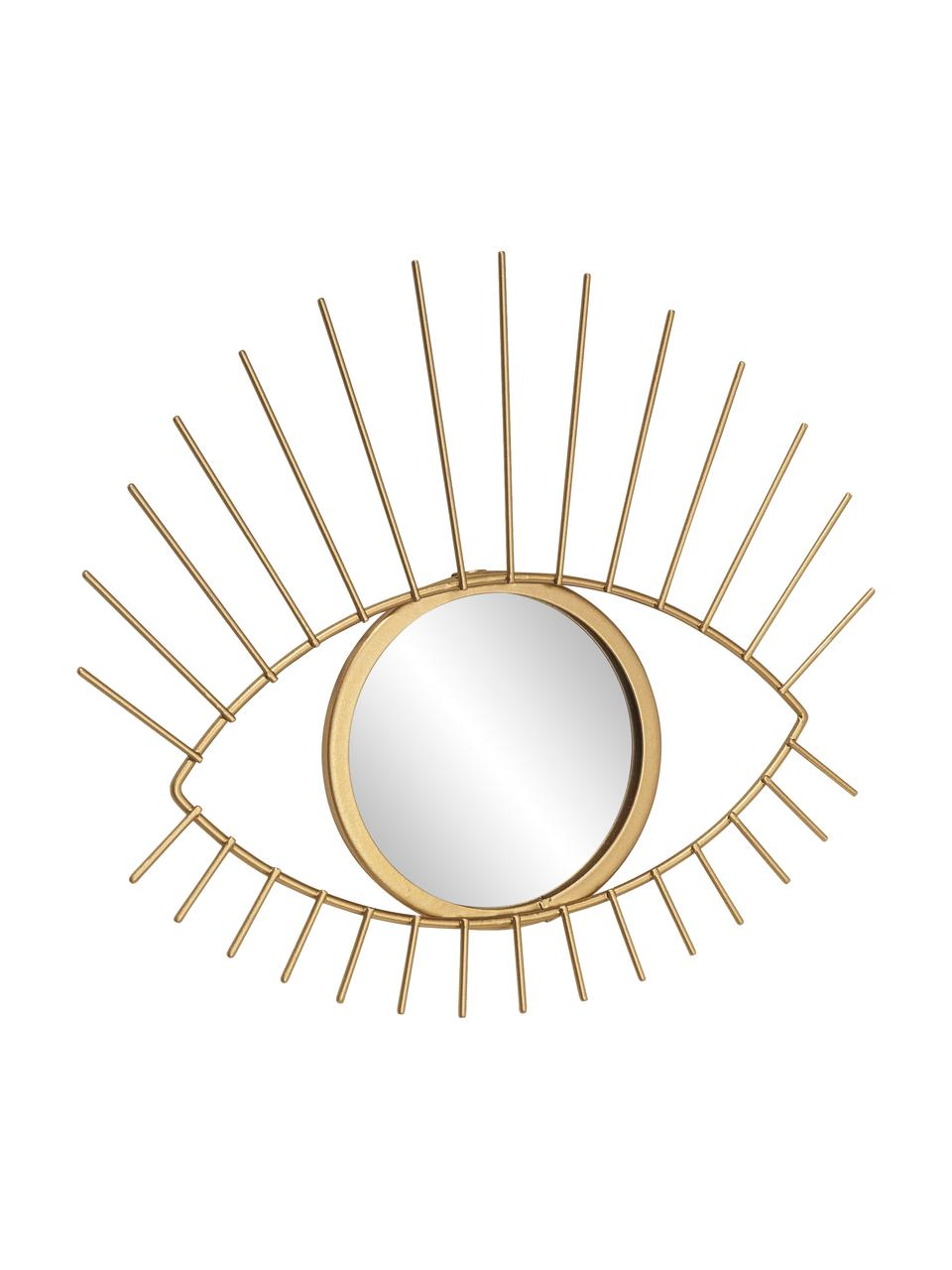 Deko-Wandspiegel Lashes mit goldenem Metallrahmen, Rahmen: Metall, beschichtet, Spiegelfläche: Spiegelglas, Goldfarben, 27 x 31 cm