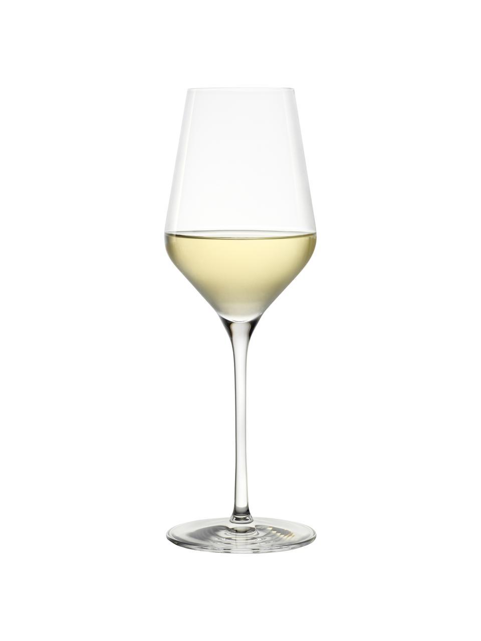 Kristallen witte wijnglazenset Quatrophil, 6-delig, Kristalglas, Transparant, Ø 8 x H 25 cm