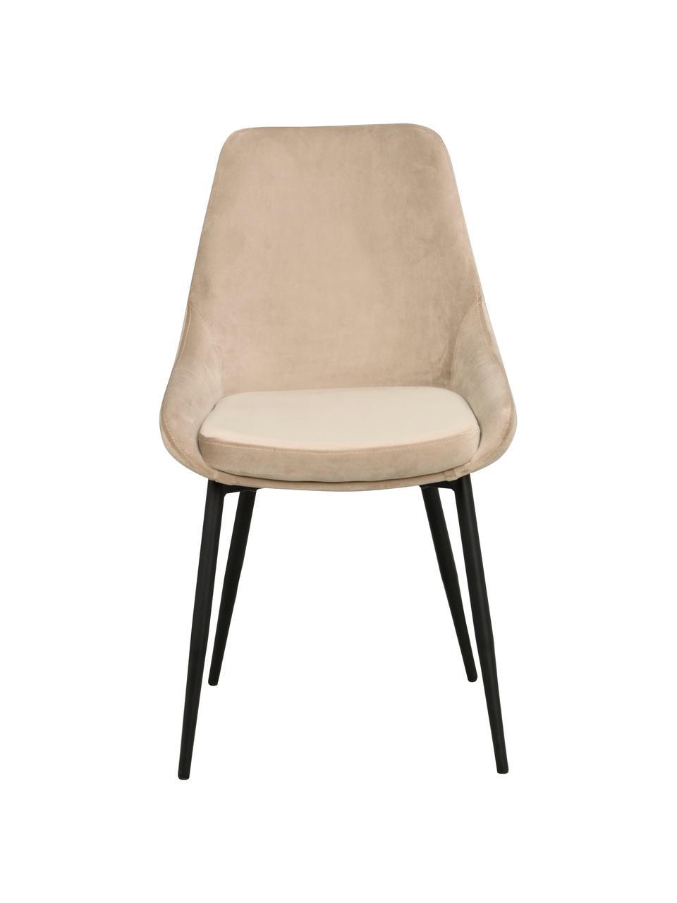 Krzesło tapicerowane z aksamitu Sierra, 2 szt., Tapicerka: aksamit poliestrowy Dzięk, Nogi: metal lakierowany, Aksamitny beżowy, nogi: czarny, S 49 x G 55 cm