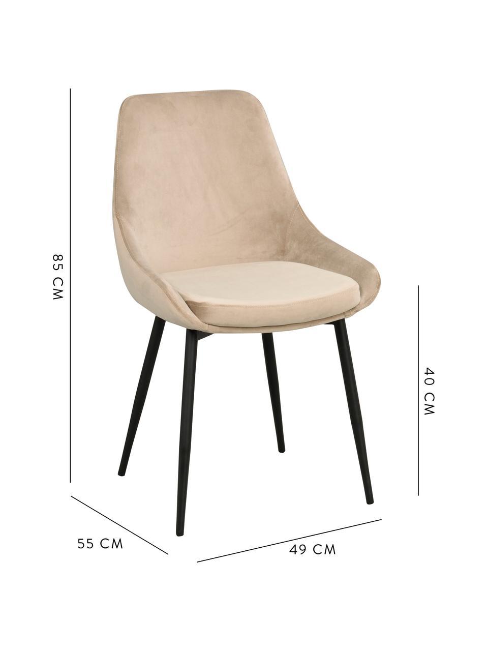 Sedia imbottita in velluto Sierra 2 pz, Rivestimento: velluto di poliestere Con, Gambe: metallo verniciato, Beige, nero, Larg. 49 x Prof. 55 cm