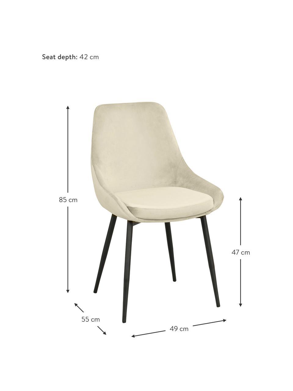 Chaise rembourrée en velours Sierra, 2pièces, Velours beige, pieds noir