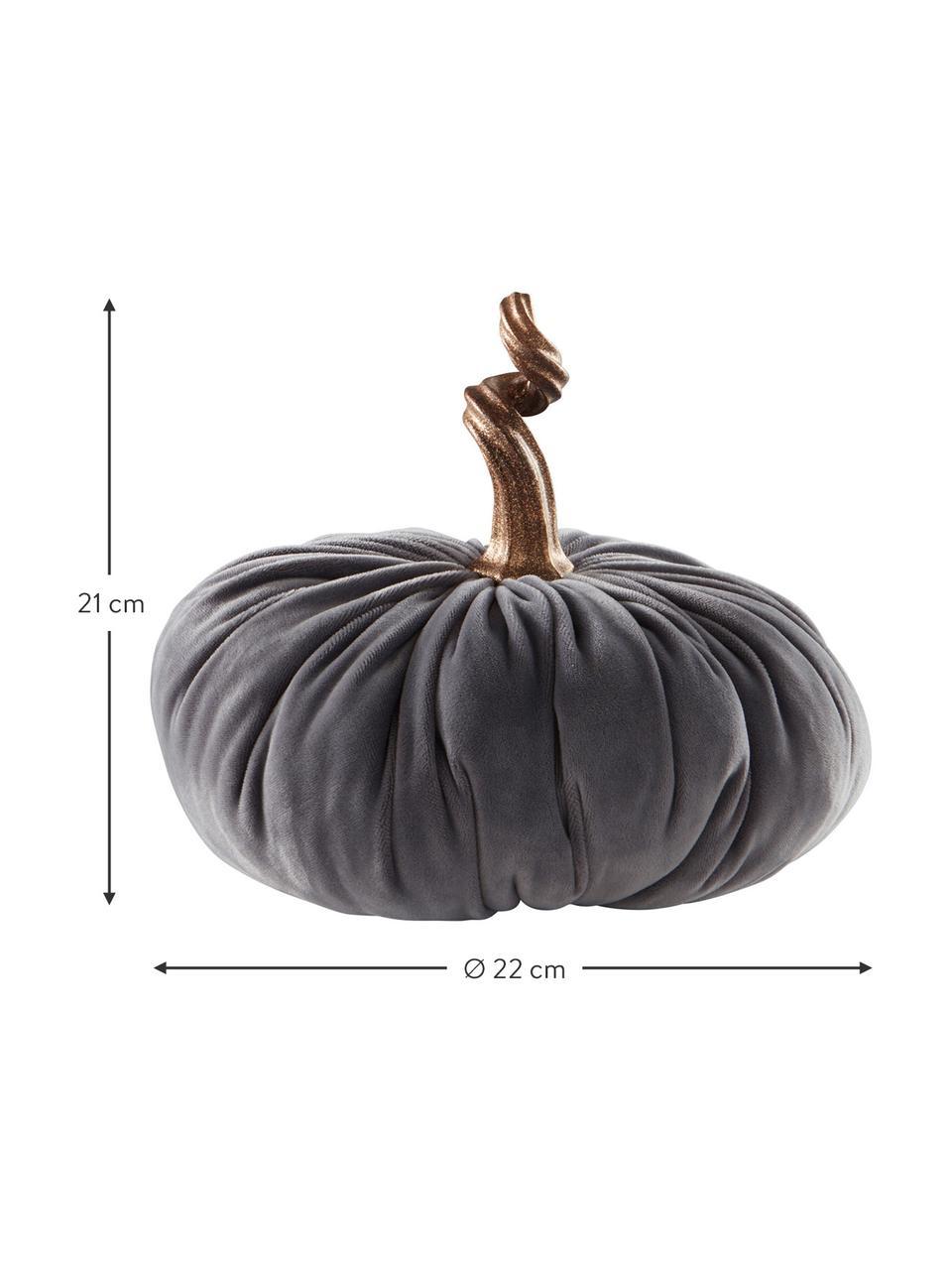 Samt-Deko-Kürbis Pumpis, 15% Polyresin, 35% Acryl, 25% Polyester, 25% Quartzsandfüllung, Grau, Ø 22 x H 21 cm