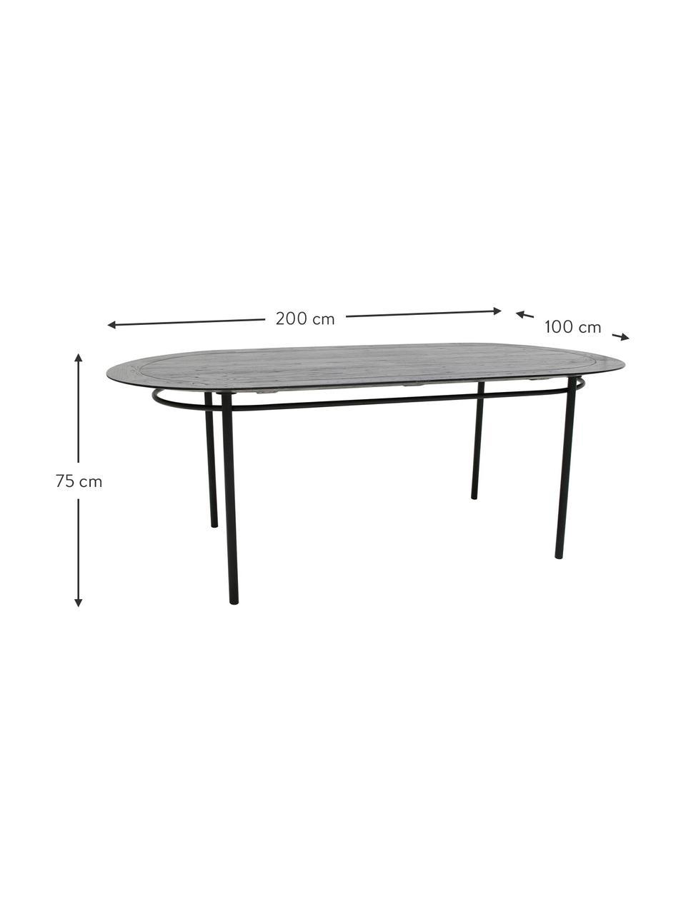 Ovaler Esstisch Ringding mit Massivholzplatte, 200 x 100 cm, Tischplatte: Sungkai Holz, lackiert, Beine: Metall, beschichtet, Schwarz, B 200 x T 100 cm
