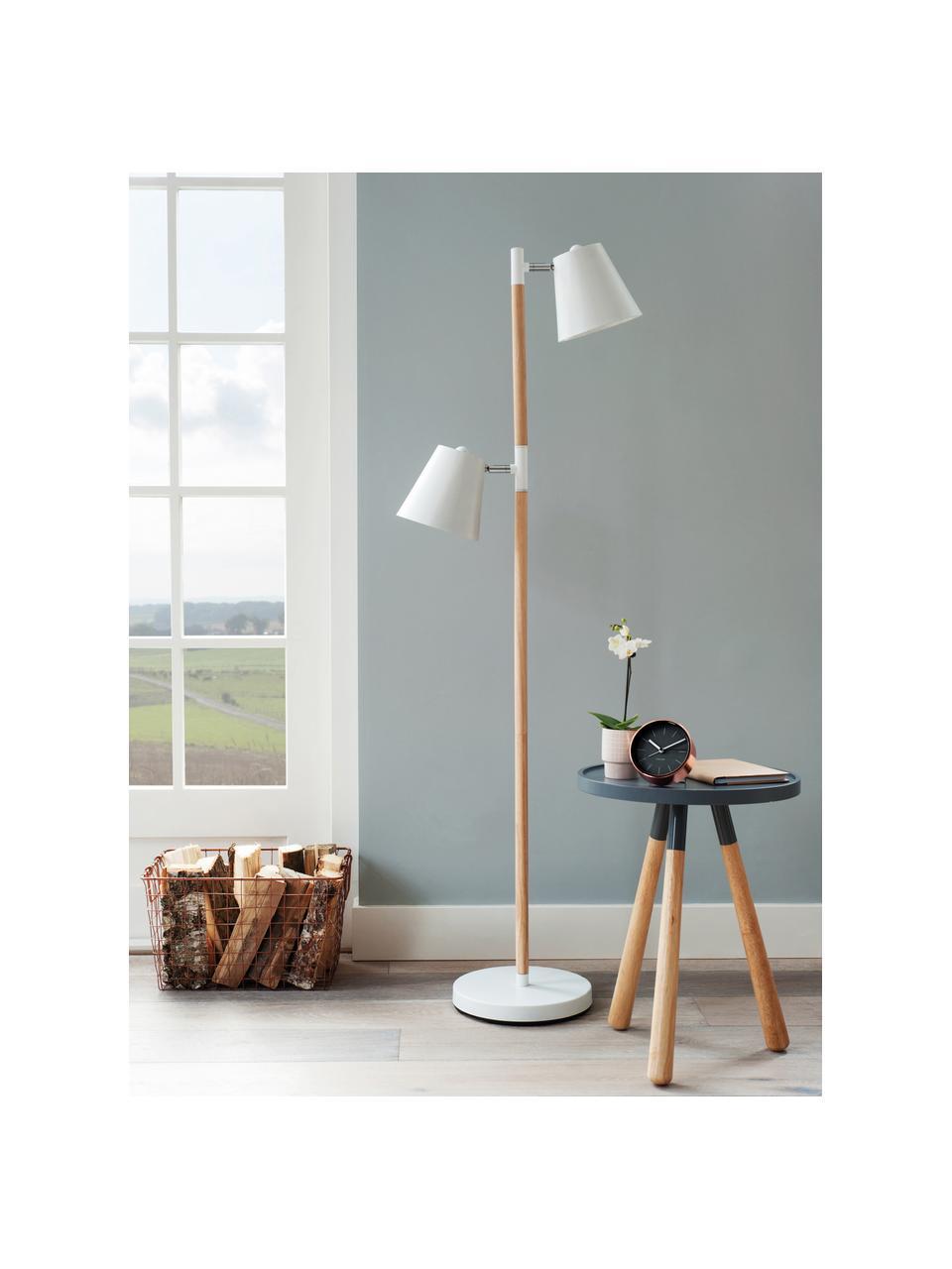 Skandi-Leselampe Rubi, Lampenschirm: Metall, beschichtet, Gestell: Holz, Lampenfuß: Metall, beschichtet, Weiß, Ø 18 x H 150 cm