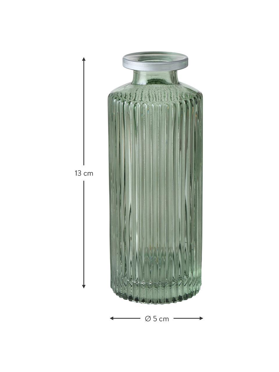 Kleines Vasen-Set Adore aus Glas, 3-tlg., Glas, gefärbt, Grün, Ø 5 x H 13 cm
