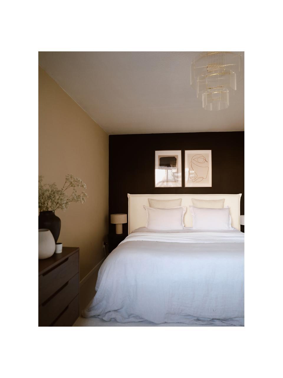 Letto boxspring Premium in tessuto bianco crema Violet, Materasso: nucleo a 5 zone di molle , Piedini: legno massiccio di betull, Tessuto bianco crema, 140 x 200 cm