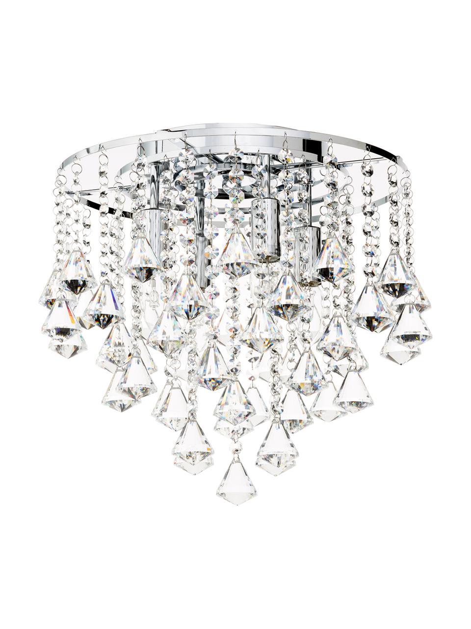 Křišťálové stropní svítidlo Dorchester, Transparentní, chromová