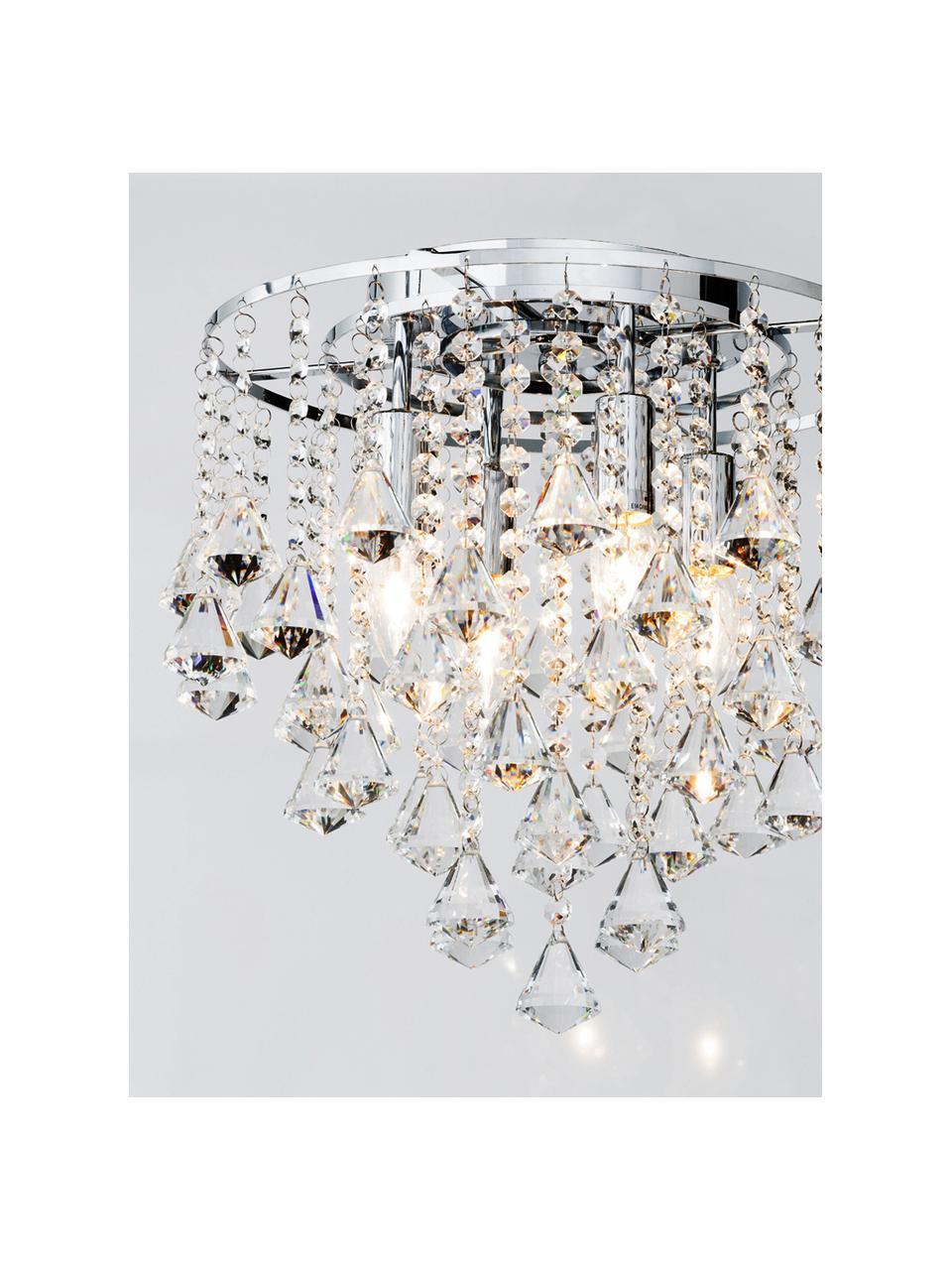 Lampada con cristalli in vetro Dorchester, Struttura: metallo cromato, Baldacchino: metallo cromato, Trasparente, cromo, Ø 40 x Alt. 36 cm