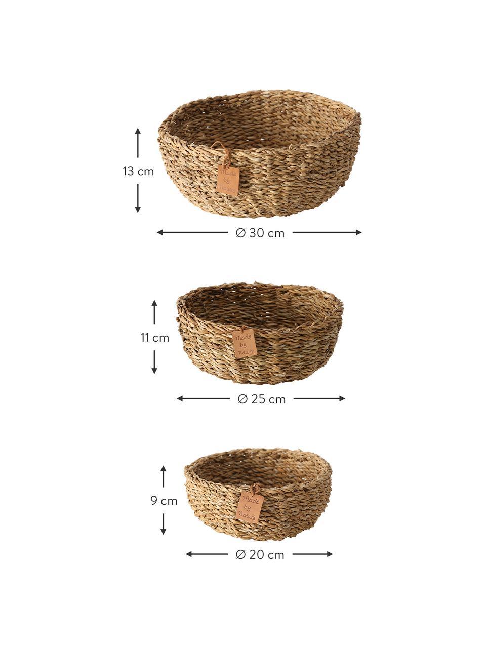Komplet koszy do przechowywania z trawy morskiej Sophy, 3 elem., Trawa morska, Beżowy, Komplet z różnymi rozmiarami