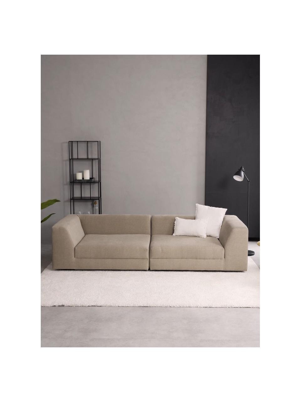 Sofa modułowa Grant (3-osobowa), Tapicerka: bawełna 20 000 cykli w te, Nogi: lite drewno bukowe, lakie, Taupe, S 266 x G 106 cm