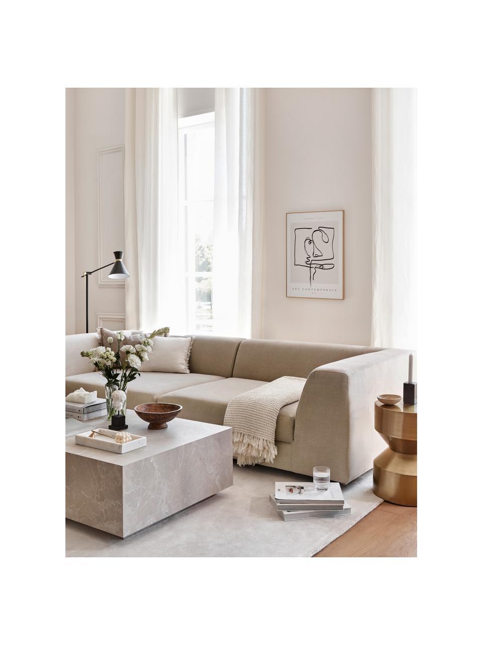 Modulares Sofa Grant (3-Sitzer) in Taupe, Bezug: Baumwolle 20.000 Scheuert, Gestell: Fichtenholz, Füße: Massives Buchenholz, lack, Webstoff Taupe, B 266 x T 106 cm