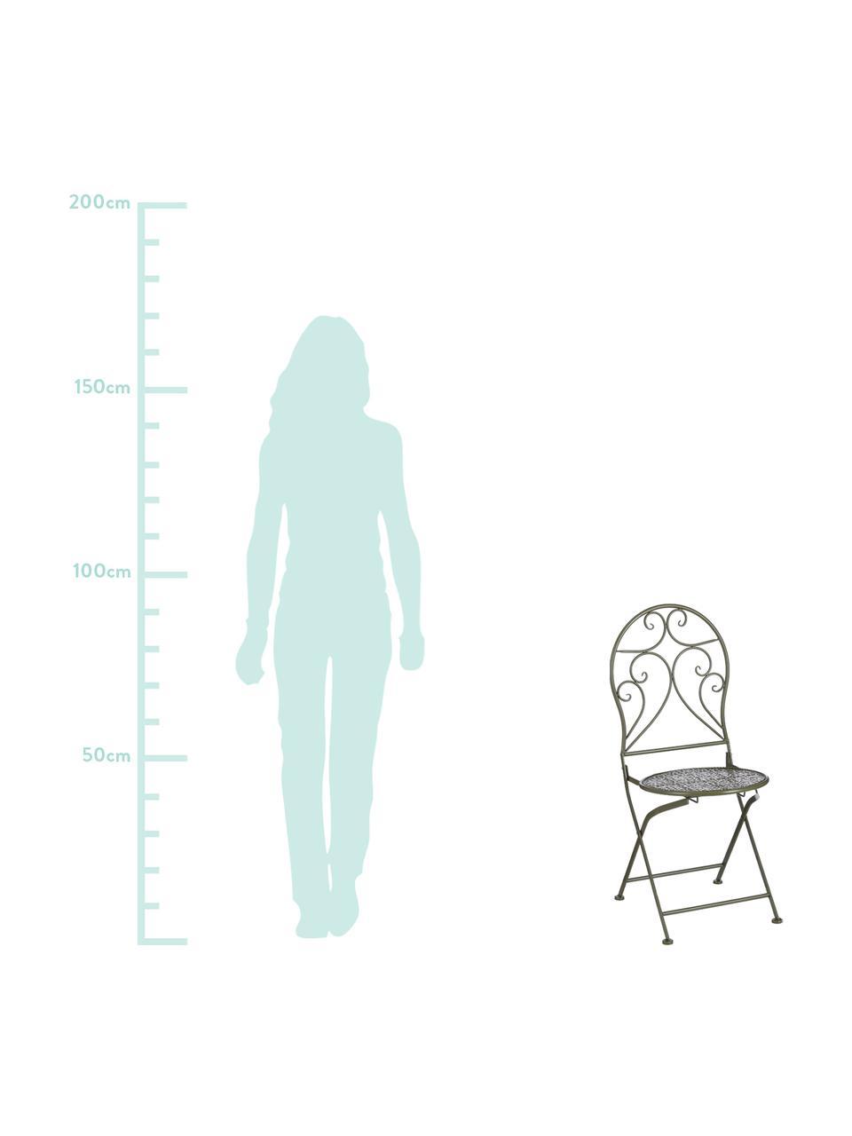 Klappbare Balkonstühle Ninet, 2 Stück, Metall, beschichtet, Grün, 40 x 92 cm