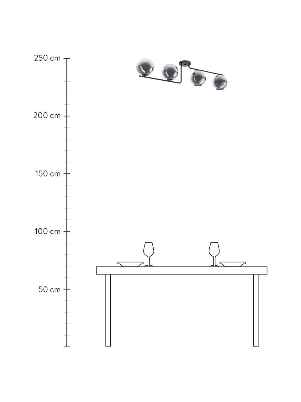 Lampada da soffitto in vetro Marojales, Paralume: vetro, Baldacchino: acciaio rivestito, Nero, grigio trasparente, Larg. 122 x Alt. 28 cm