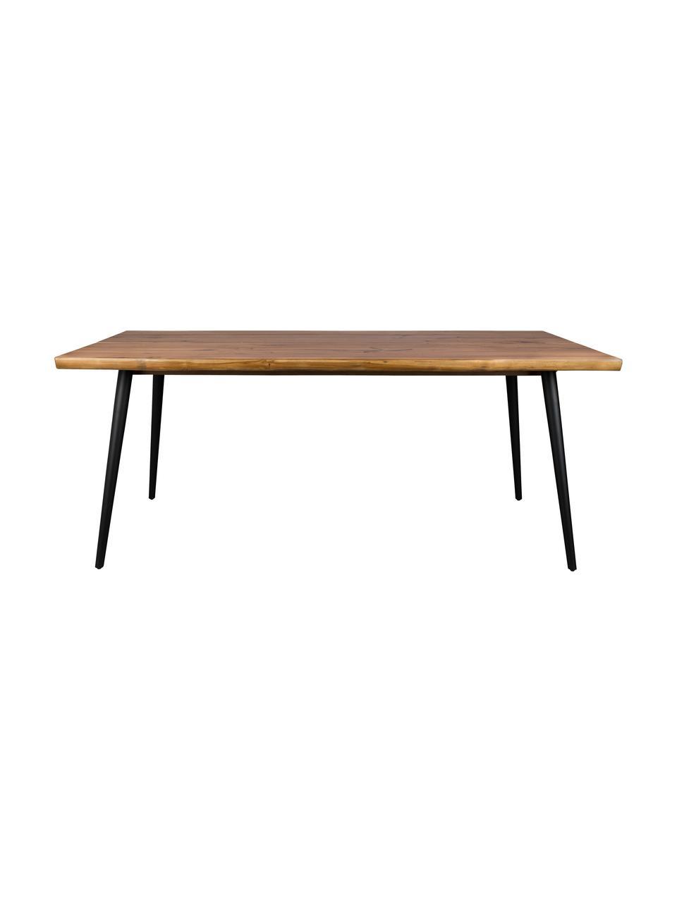 Eettafel Alagon met boomrand design, Tafelblad: MDF, walnoothoutfineer, g, Poten: gepoedercoat staal, Walnootkleurig, 160 x 90 cm