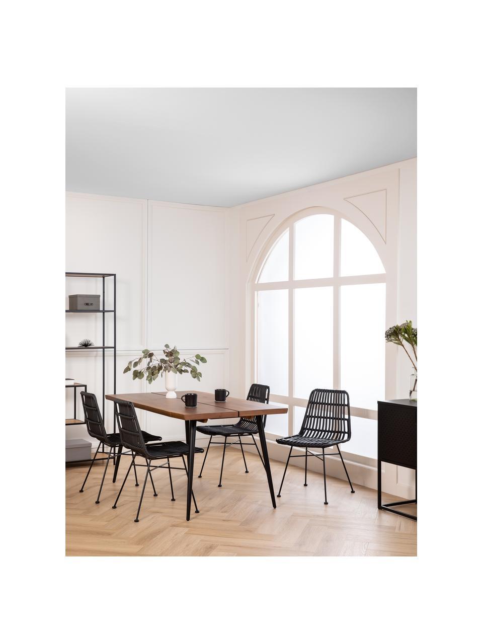 Table design à lignes de bois naturel Alagon, Noyer