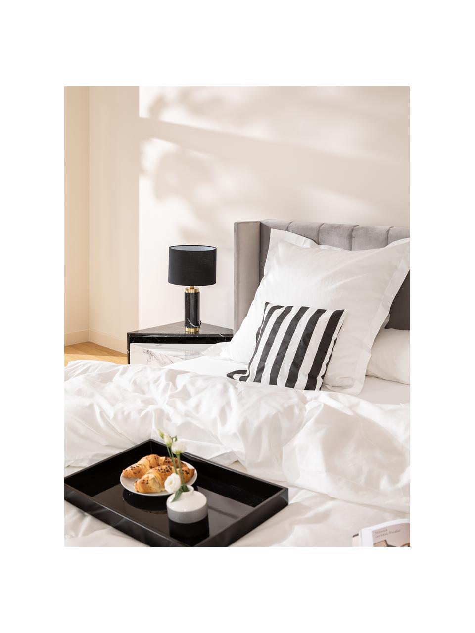 Glam tafellamp Miranda met marmeren voet, Lampenkap: textiel, Lampvoet: marmer, geborsteld messin, Wit, zwart marmer, Ø 28 x H 48 cm