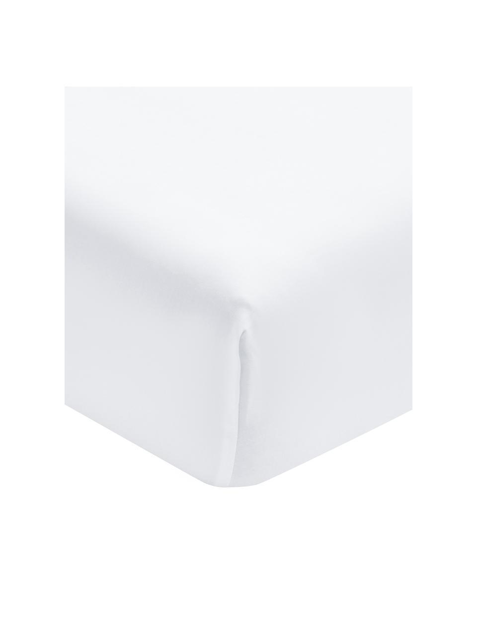 Drap-housse satin de coton bio blanc Premium, Blanc