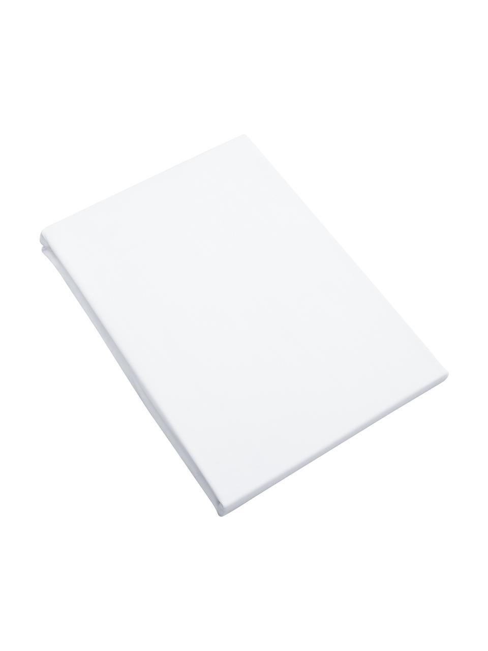 Prześcieradło z gumką z organicznej satyny bawełnianej Premium, Biały, S 180 x D 200 cm