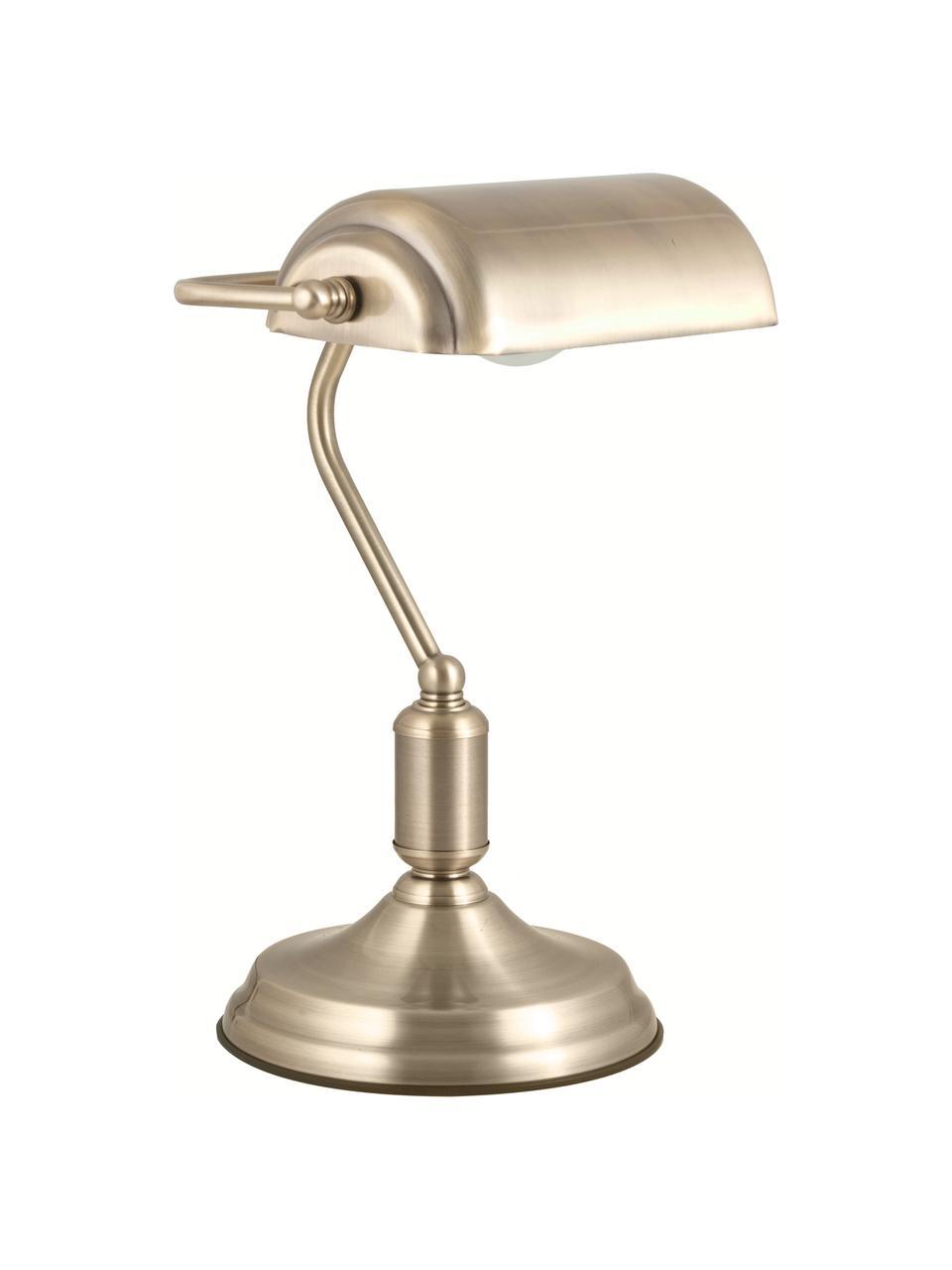 Lampada da tavolo in metallo Bank, Paralume: metallo rivestito, Base della lampada: metallo rivestito, Ottonato, Larg. 22 x Alt. 34 cm