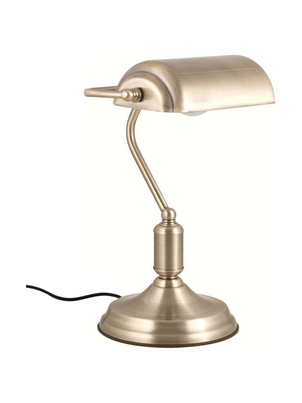 Lampa biurkowa z metalu w stylu retro Bank, Odcienie mosiądzu, S 22 x W 34 cm