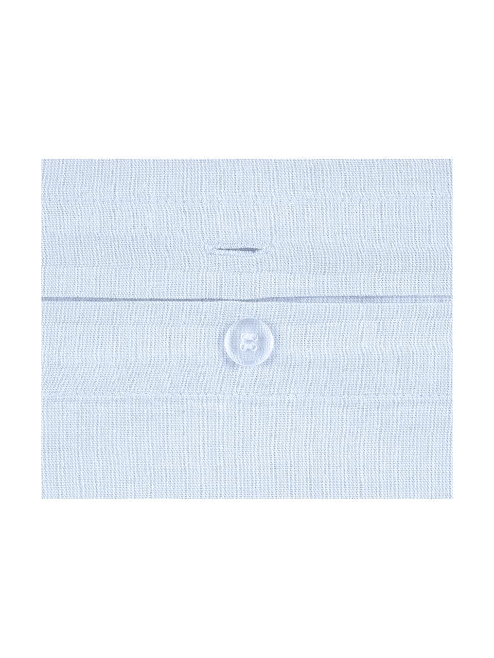 Leinen-Bettwäsche Indica, 52% Leinen, 48% Baumwolle Mit Stonewash-Effekt  Halbleinen hat von Natur aus einen kernigen Griff und einen natürlichen Knitterlook, der durch den Stonewash-Effekt verstärkt wird. Es absorbiert bis zu 35% Luftfeuchtigkeit, trocknet sehr schnell und wirkt in Sommernächten angenehm kühlend. Die hohe Reißfestigkeit macht Halbleinen scheuerfest und strapazierfähig., Hellblau, 240 x 220 cm